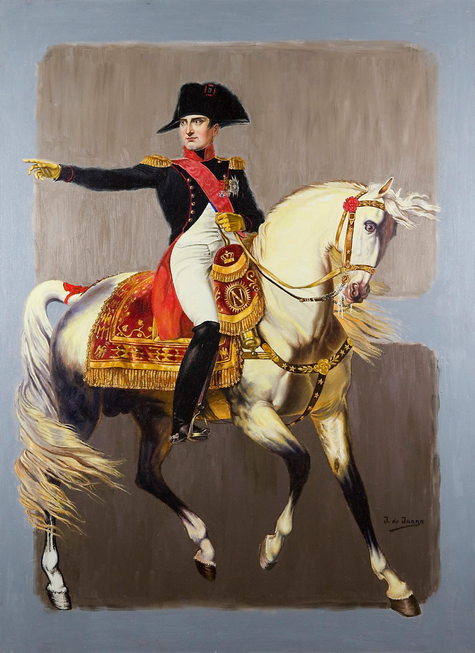 """Estudio de Napoleón a caballo """"MANDO Y AMBICION"""" - cuadro de Javier de Juana"""